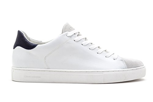 CRIME LONDON scarpa uomo bianco dettagli blu pelle / camoscio art. 11209S17B