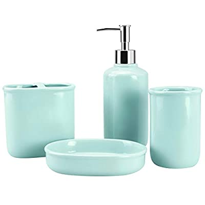 4-Piece Ceramic Bathroom Accessory Set, Bathroom Accessories Set Includes Soap Dispenser, Toothbrush Holder, Tumbler… - Elegant Ceramic - Our bathroom accessories set is made of beautiful, quality ceramic with glossy monochrome and smooth surface, that outfit your new bathroom or upgrade your current set of accessories with its exquisite design, giving your bathroom a touch of elegance feel. Complete Bathroom Essentials - This is a complete bathroom essentials set providing daily bath accessory to keep your bathroom necessities fully organized, includes a soap dispenser pump, a toothbrush holder, a tumbler, a soap dish. Quality Material - All pieces are made of natural porcelain clay high temperature firing, healthy materials are safe for daily uses and easy to clean. Exquisite fitting with a lightweight plastic press head makes it easy to squeeze out liquids, and fits tightly to prevent leakage. - bathroom-accessory-sets, bathroom-accessories, bathroom - 31B2VxbFw%2BL. SS400  -