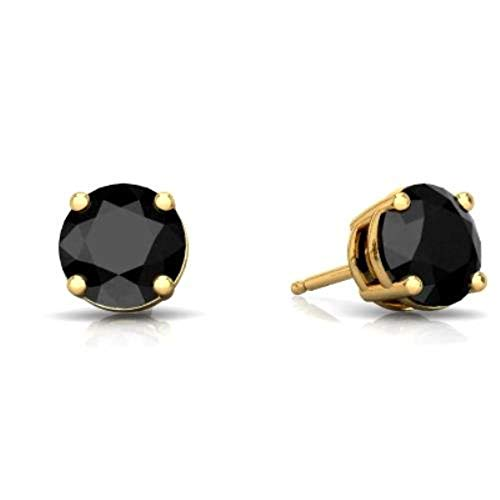 Onyx Elizabeth - 14Kt Yellow Gold 4mm Genuine Black Onyx Round Stud Earrings