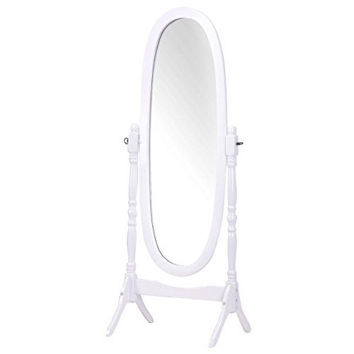 Giantex full length dressing mirror swivel wood cheval for White full length wall mirror