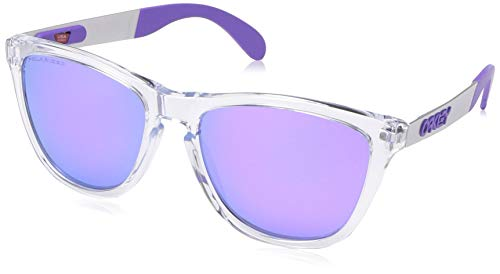 Oakley Men's OO9428 Frogskins Mix Round Sunglasses, Polished Clear/Violet Iridium Polarized, 55 ()