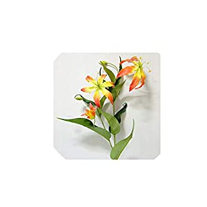 5 Heads Flame Lily Branch Artificial Flowers for Home Party Wedding Christmas Decoration Silk Fake Flowers Real Touch Florals,Orange 85