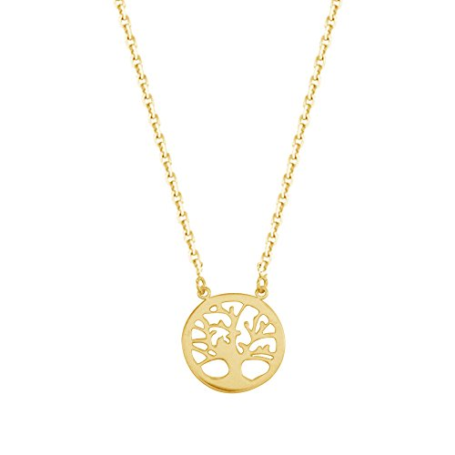 14k Yellow Gold Tree Of Life Necklace Adjustable Chain 16-18 Inches (14k Yellow Life Gold)