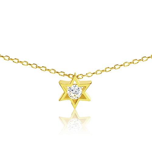 Sliders Yellow Pendant - Jewish Star of David Yellow Gold Necklace Girls