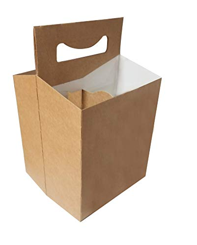 Brown Kraft 150 4 Pack Beer Bottle Holder that fits 12-16oz bottles Sturdy Cardboard Holds six bottles ()
