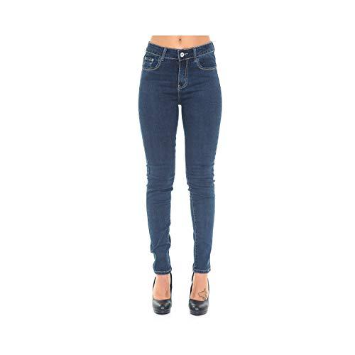 Pantaloni Jeans Taglie Oversize Da Donna 5 Tasche Slim Fit Denim Blu