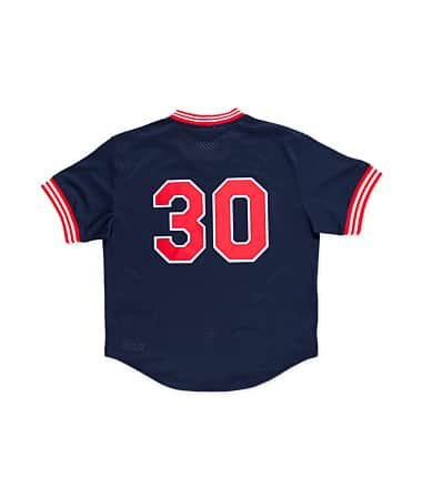 Blue Batting Practice Baseball Jersey - MLB Mitchell & Ness Joe Carter Cleveland Indians 1986 Authentic Cooperstown Collection Throwback Mesh Batting Practice Jersey - Navy Blue (Large)