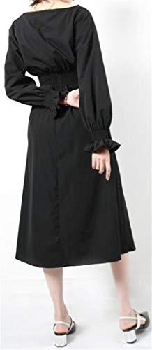 Manches Lanterne Cromoncent Femmes Taille Empire Automne Swing Décontracté Noir Robe Longue