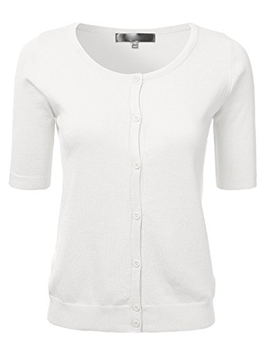 FLORIA Womens Button Down Fitted Short Sleeve Fine Knit Top Cardigan Sweater Ivory (White Short Sleeve Sweater)