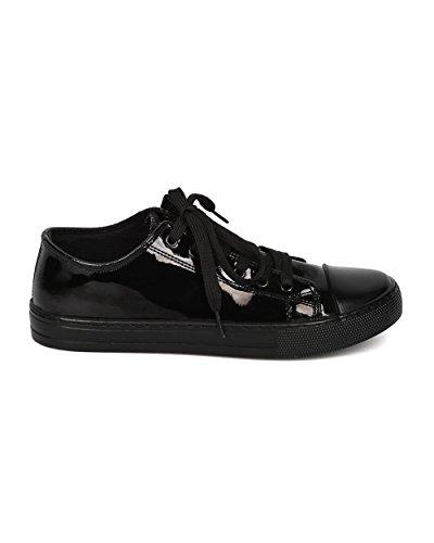Low Toe School Qupid by Street Sneaker Fashion Top Sneaker Women Black Patent GF69 Capped Casual vYqpYE