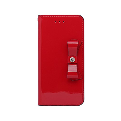 iPhone 8 Luxury Glossy red Patent Leather Clutch Ribbon Case Korea Handmade Case (Ribbon Patent)