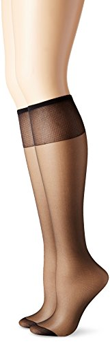 Hanes Silk Reflections Women's Knee High Reinforce Toe 2 Pack, Jet, One - Jet Black Nude