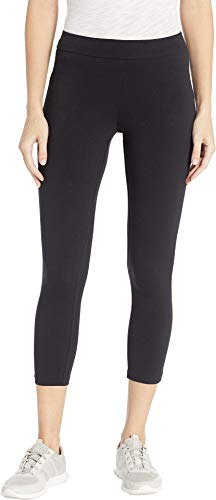 HUE Women's Wide Waistband Blackout Cotton Capri Leggings, Assorted, black -