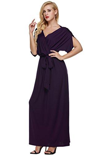 ANGVNS Women's Elegant Batwing Dolman Sleeve Classy Maxi Evening Dress, Size X-Large, Purple