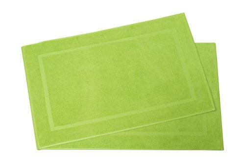 ZOLLNER® 2er Set Badematten / Badvorleger / Badteppich 50x80 cm apfelgrün, in weiteren Farben erhältlich, in Premium-Qualität, Serie
