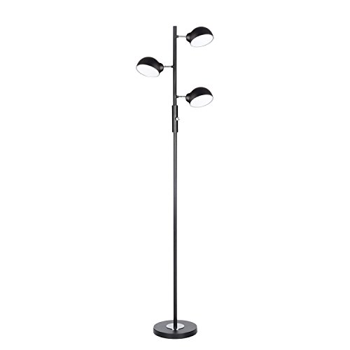 Floor Lamp, SUNLLIPE 3 Lights LED Reading Floor Lamp 15W Modern Tall Pole Standing Dimmable & Adjustable Omnidirectional Energy Saving Tree Lamp for Bedroom, Living Room, Office (Jet Black) (Tools Power Trend)