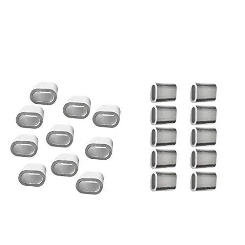 Shiwaki 20x Aluminium Stahlhülsen Clip Für Drahtseil
