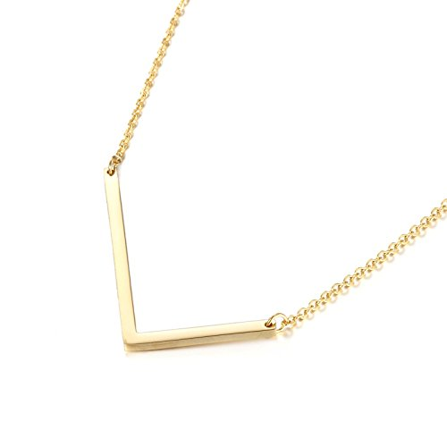 Memgift L Letter Necklace Big Alphabet Stainless Steel 24K Gold Plated Pendant Jewelry for Her