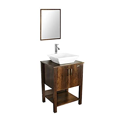 """eclife 24"""" Bathroom Vanity Sink Combo Brown Cabinet Modern Stand Pedestal W/Square White Ceramic Vessel Sink, Chrome Bathroom Solid Brass Faucet and Pop Up Drain Combo, W/Mirror (A07 B12C) - ❤WATER SAVE: 1.5 GPM faucet aerator help to save 30% water; 3/8'' Connector Hot/Cold Water supply hose; 23-5/8"""" Long water supply lines; Durable Chrome faucet; Pop up drain. ❤ECO-FRIENDLY: MDF eco-friendly material used to make vanity more durable and sturdy; 15mm Thickness and smooth surface board, easy to clean and wear-resistance. ❤EASY to INSTALL: Need to be self-assemble, delicate design make it easy to assemble; Small body includes maximized storage, more convenient and flexible for you to use. - bathroom-vanities, bathroom-fixtures-hardware, bathroom - 31B2lvwDRuL. SS400  -"""