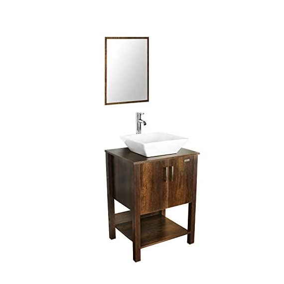 "eclife 24"" Bathroom Vanity Sink Combo Brown Cabinet Modern Stand Pedestal W/Square White Ceramic Vessel Sink, Chrome Bathroom Solid Brass Faucet and Pop Up Drain Combo, W/Mirror (A07 B12C) - ❤WATER SAVE: 1.5 GPM faucet aerator help to save 30% water; 3/8'' Connector Hot/Cold Water supply hose; 23-5/8"" Long water supply lines; Durable Chrome faucet; Pop up drain. ❤ECO-FRIENDLY: MDF eco-friendly material used to make vanity more durable and sturdy; 15mm Thickness and smooth surface board, easy to clean and wear-resistance. ❤EASY to INSTALL: Need to be self-assemble, delicate design make it easy to assemble; Small body includes maximized storage, more convenient and flexible for you to use. - bathroom-vanities, bathroom-fixtures-hardware, bathroom - 31B2lvwDRuL. SS570  -"