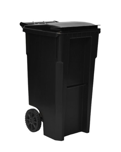 Amazoncom 35 gallon black heavy duty outdoor trash can with wheels