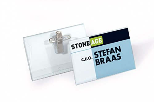Durable Combi Clip Badge - Durable Name Badges Combi-Clip for Pin or Clip to Clothing 54x90mm Ref 8610 [Pack of 5]