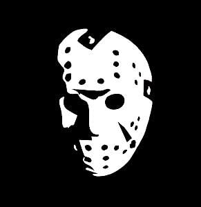 Jason Horror Movie Face WHITE Vinyl Car//Laptop//Window//Wall Decal