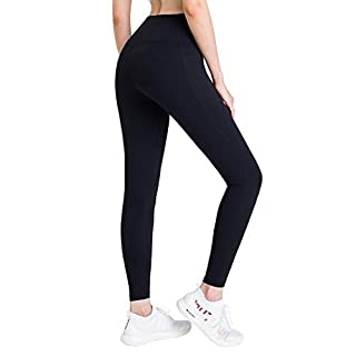 HOTSUIT High-Waisted-Leggings with Pockets Women Yoga-Pants - (Black, XXL) Butt Lifting Workout Legging Tummy Control Gym Tights Pant