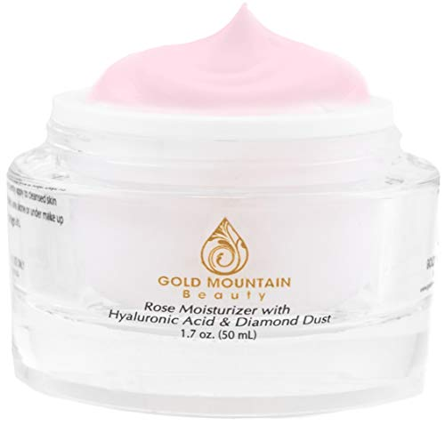 Anti Aging Face Cream Moisturizer - with Rose Scent, Hyaluronic Acid and Diamond Dust, Anti-Aging Anti-Wrinkle Night Cream for Woman and Men, Skin Care from Gold Mountain Beauty