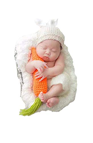 MATISSA Newborn Baby Girl/Boy Crochet Knit Costume Photography Prop Hats and Outfits (Carrot Loving White -