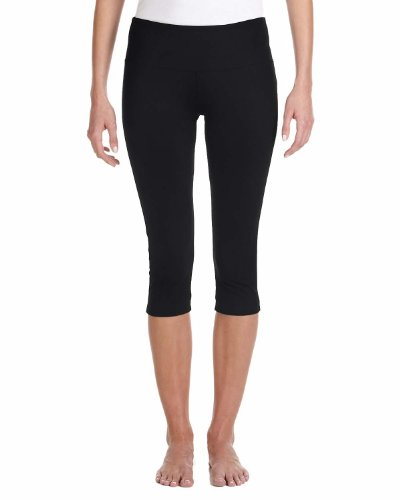 Bella + Canvas Ladies' Cotton Spandex Capri Legging - Black - S