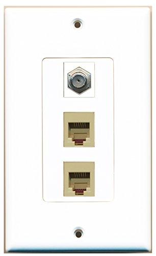 RiteAV - 1 Port Coax Cable TV- F-Type 2 Port Phone RJ11 RJ12 Beige Decora Wall Plate Decora ()