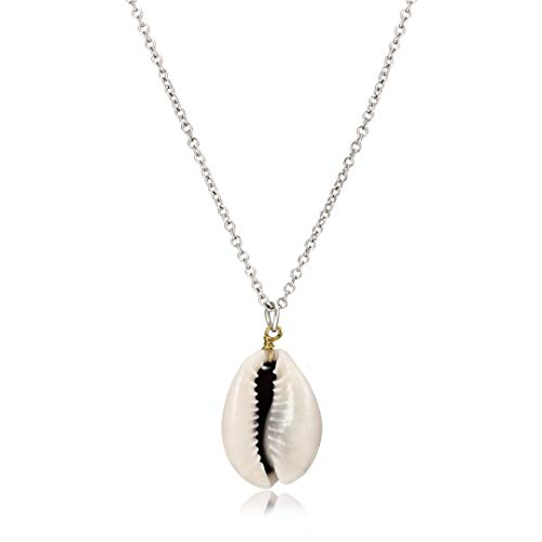 Cowrie Shell Pendant Necklace Bohemian Conch Seashell Choker Necklace Handmade Hawaii Wakiki Shell Necklace Ocean Sea Beach Jewelry (Silver) ()