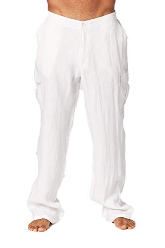 Mariyaab Men's Casual 100% Linen Pants with Side Cargo Pockets and Elastic Waist(9508, SolidWhite, ()