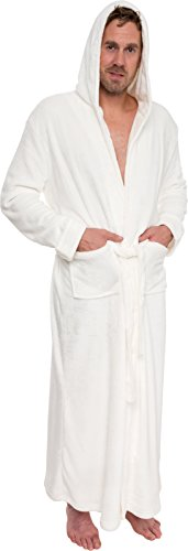 Ross Michaels Mens Hooded Long Robe - Full Length Big & Tall Bathrobe (White, L/XL)