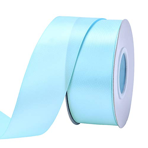 Ribest 1-1/2 inch 25 Yards Solid Double Face Satin Ribbon Per Roll for DIY Hair Accessories Scrapbooking Gift Packaging Party Decoration Wedding Flowers Light Blue