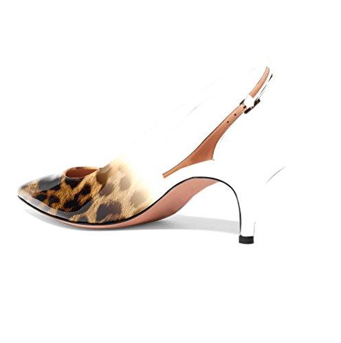 Bout Talons Petits fermé à Escarpins Escarpins arrière Bride Chaussures C Soireelady Leopard Femme tqO8xwf