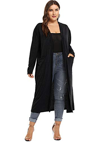 Romwe Womens Plus Size Solid Lightweight Open Front Long Maxi Duster Cardigan with Pockets