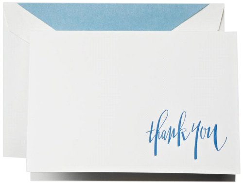 Cranes Thank You Stationery - Crane & Co. Hand Engraved Newport Blue Thank You Notes (CT1313)