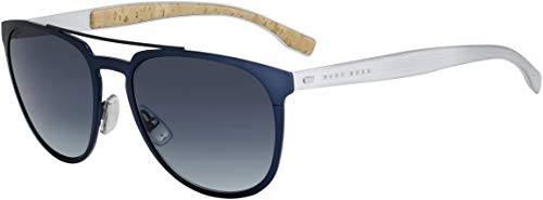 BOSS by Hugo Boss Men's B0882s Aviator Sunglasses, MATTE BLUE/GRAY GRADIENT, 57 mm