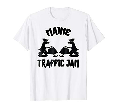 Maine t-shirt   ME Moose Snowmobile Traffic Jam Shirt ()