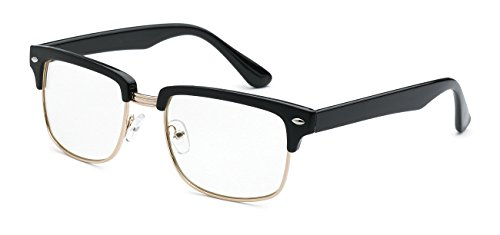 5zero1 Fake Glasses Half Frame Retro Fashion Men Women Nerd Classic Clear Lens Eyeglasses (Square Gold Black)