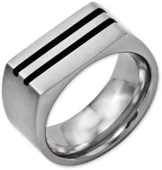 Best Quality Free Gift Box Titanium 10mm Black Enamel Stripes Brushed Band
