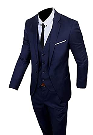 BingSai - Traje - para Hombre Azul Azul Marino S: Amazon.es: Ropa ...