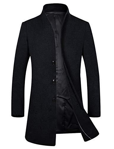 Men's Stylish Slim Fit Wool Pea Coat Winter Jacket (XS, Navy)