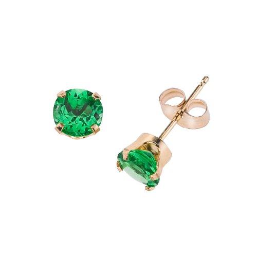 14k Gold Genuine 3mm Emerald May Birthstone Children's Earrings