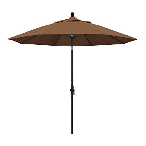 California Umbrella 9' Round Aluminum Market Umbrella, Crank Lift, Collar Tilt, Black Pole, Sunbrella Teak