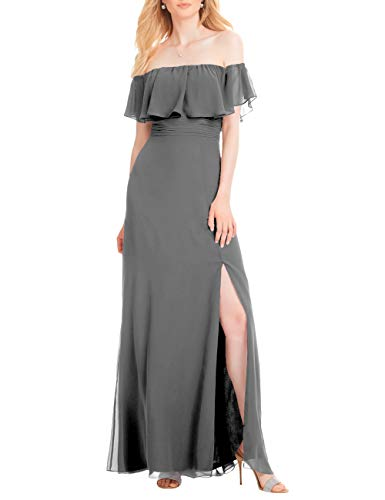- Cdress Bridesmaid Dress Wedding Party Gowns Chiffon Strapless Side Slit A-line Long Steel Grey US 10