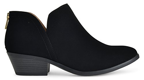LUSTHAVE Womens Madeline Western Almond Round Toe Toe Slip On Bootie - Low Stack Heel - Zip Up - Casual Ankle Boot by Black Nubuck 2wWJ8