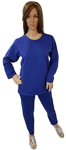Women's Fleece Sweatsuit Set-Long Sleeve Comfort Fit Side Pocket Design Cotton Blend (3X, Royal) (Design Cotton Suit)